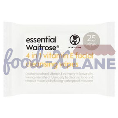 Waitrose Vit E 4 in 1 facial cleansing wipes 25s