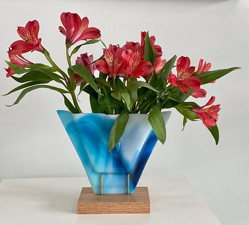 Multi Blue Vase on Wood Stand.