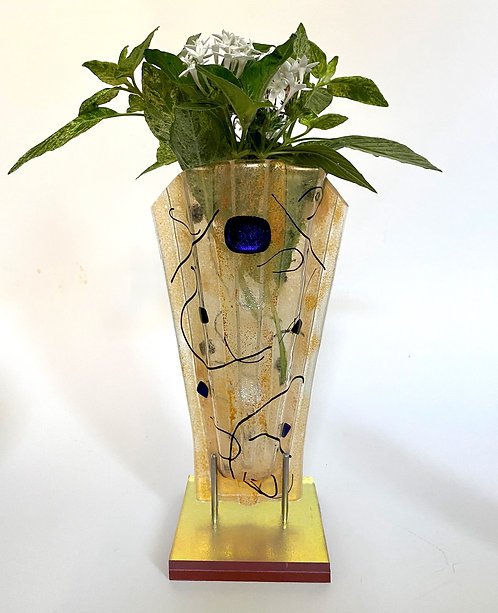 "Gold with Dichroic Blue Sculpture Vase 10"" x 5"" x 4"""