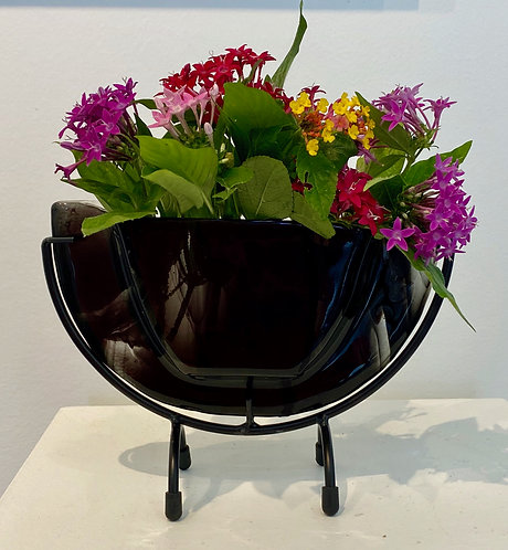"""Black and Clear Swirl with Clear Back 6"""" x 8"""" x 3"""""""