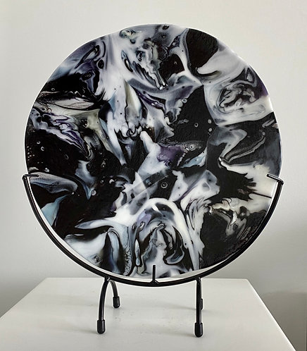 Black and White Coral Glass Pour