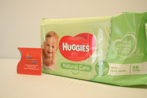 Huggies Natural Care Baby Wipes With Aloe Vera (56 Wipes)