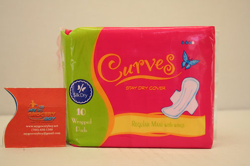 Curves Regular Maxi With Wings (10 Pads)