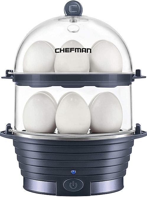 Chefman Electric Egg Cooker Boiler, Rapid Egg-Maker & Poacher, Food & Vegetable
