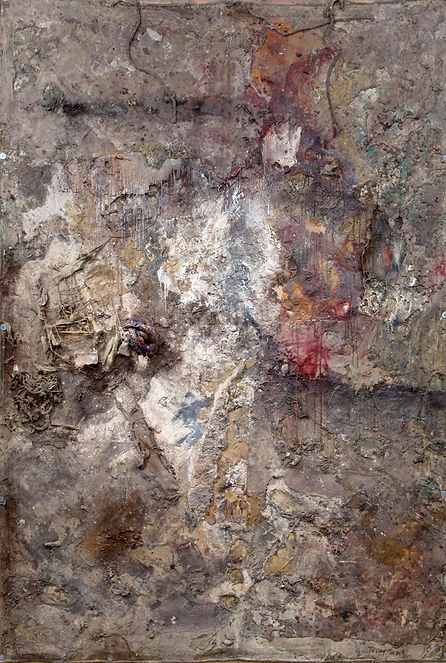 A detail of a painting Reduced to Rubble shown in London in 2012