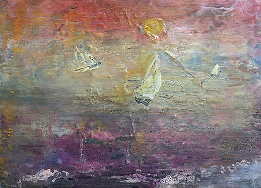 A painting of yachts sailing off a beach in evening light.