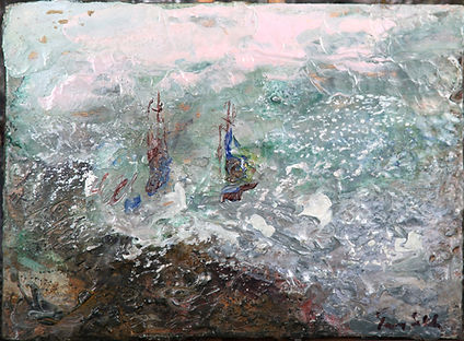 Twp yachts sailing away
