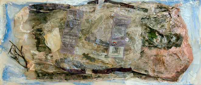 An image of a mixed media painting with embedded found objects