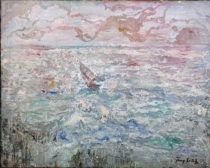 painting of a yacht in rough sea
