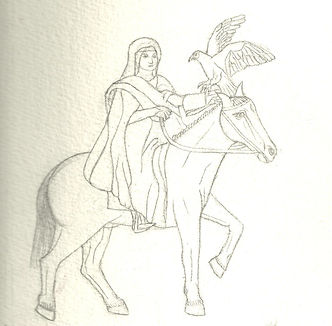 beginning drawing for The 13th Century cover