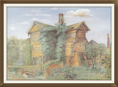 original George Theaker painting of Little Moreton Hall used for Fettigrew Hall cover