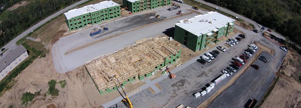 Phase I Buildings Being Framed