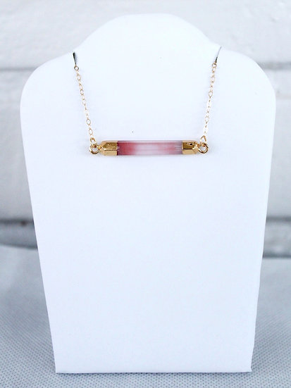 Red bar connector necklace