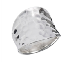Sterling Silver Hammered Ring- Thick