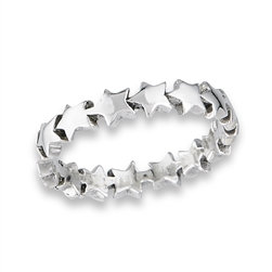 Sterling Silver Chain of Stars Ring