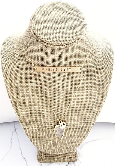 Large Hand Stamped Bar Necklace
