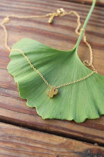 Tiny Cactus Charm Necklace