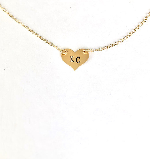 Dainty Stamped Heart Necklace