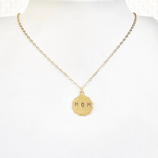 Large Scalloped Customizable Charm necklace