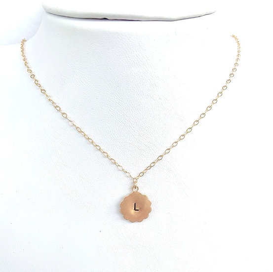Small Personalized Scallop Initial Necklace