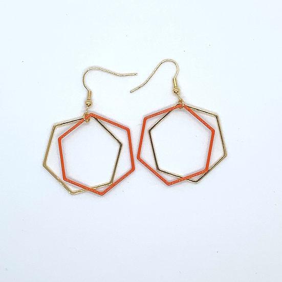 Orange Geometric Earrings