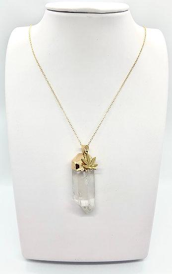 Quartz crystal Pendant Necklace with Hemp Leaf Charm