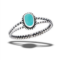 Sterling Silver Double Braided Turquoise Ring