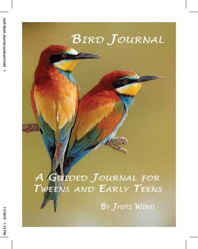 """Bird Journal: A Guided Journal for Tweens and Early Teens by Jyoti Wind. A journal for young people to record their thoughts and ideas.   $14.95 + $3. s/h.   """"A private book that will become their best friend, which will heal their scars as they stumble along, and which they will keep for as long as they live. Her thoughtful writing prompts will stir their thinking skills, will help to examine their emotions as they grow, and provide a place to record their innermost secrets.""""   Arlene S. Bice."""