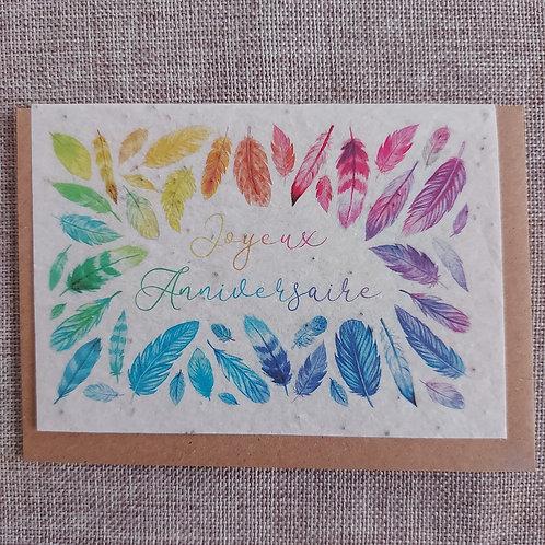 """Carte à planter """"Joyeux Anniversaire Plume"""""""