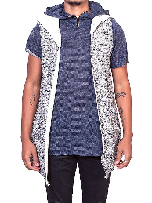 Blue Vest Textured Knit  (Raw Edge)