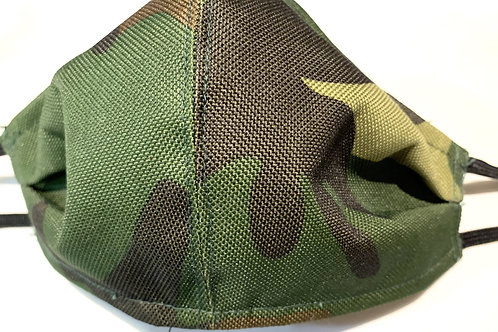 Water Resistant Camo Green Face Mask With Ad