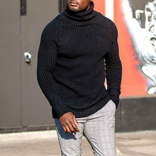 Black Cashmere Ribbed Turtleneck Sweater (Heavy Weight)