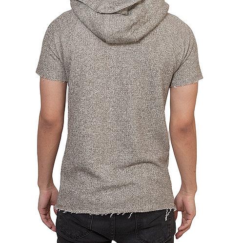 Grey Euro Hoodie Textured Knit