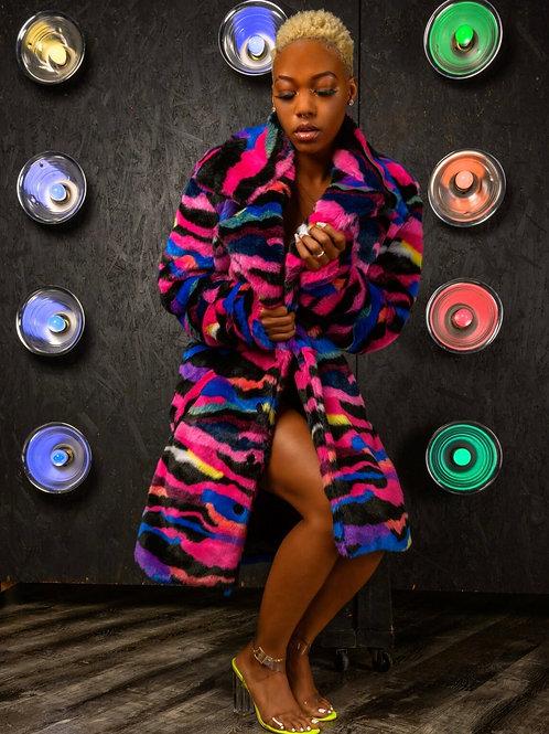 Tri Color Fur Pea- Coat