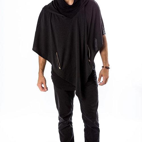 Black Poncho with Hood (Unisex)