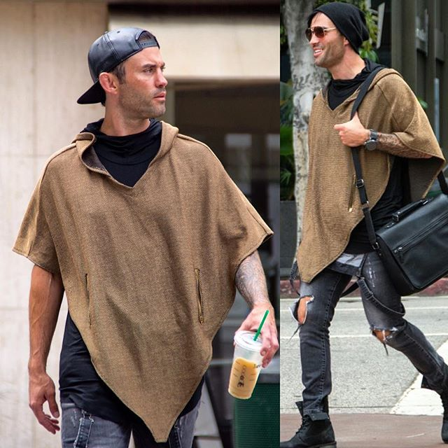 #Oliventa Gold Poncho with gold zippers _Model _paul_gemmati _Www.oliventa.com_Sold At _flashermelro