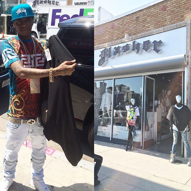 _souljaboy picking up a _oliventa_ #poncho at _#Flasher Clothing Store on #Melrose