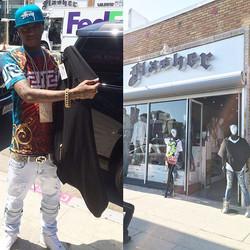 _souljaboy picking up a _oliventa_ #poncho at _#Flasher Clothing Store on #Melrose