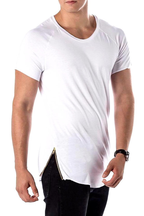Everyday white Plain Lux T-Shirt (white) w/ Gold zipper