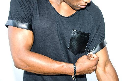 Deep Crew Neck T-Shirt w/ Vegan Leather