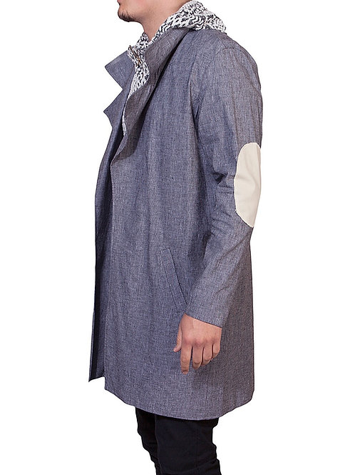 Classic Grey Trench Coat  (Elbow Patch)