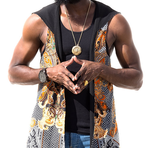 Paisley Vest Reversible Invisible Back (Gold-zipper)