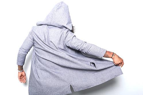 Grey Long Coat with Hood