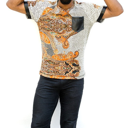 Paisley Shirt w/ Vegan Leather