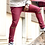 Thumbnail: Pants Slim Fit (Knee Zipper) Burgendy