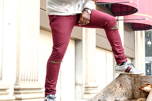 Pants Slim Fit (Knee Zipper) Burgendy