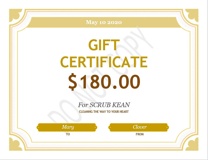 Scrub Klean Cleaning package gift card