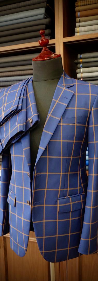 Blue With Orange Check Suit