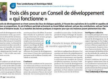 """Trois clés pour un Conseil de développement """"qui fonctionne"""""""
