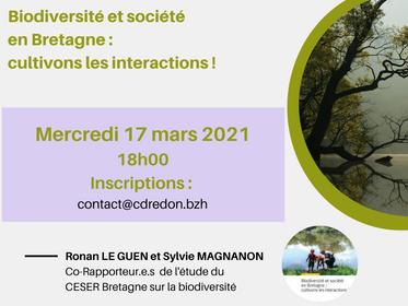 Biodiversité en Bretagne, cultivons les interactions. Webinaire - 17 mars à 18h00